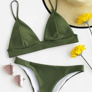 Seam Triangle Top with Low Rise Bikini Set